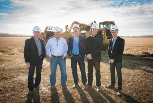 Mattamy Calgary representatives at the opening of construction of the company's Carrington community in NW Calgary. From L left to right: Warren Saunders (VP), Don Barrineau (Division President), Peter Lewandowski (VP), Collin Campbell (VP), Mark Bortoluzzi ( Development Manager). (CNW Group/Mattamy Homes Limited)