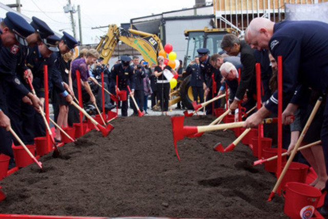 BC Professional Fire Fighters' Burn Fund Board Members and special guests broke ground on the new Burn Fund Centre site on Wednesday, September 17th. (CNW Group/British Columbia Professional Fire Fighters Burn Fund)