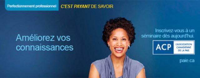 L'Association canadienne de la paie offre également plus d'une vingtaine de séminaires de perfectionnement professionnel différents sur la paie au Canada, lesquels s'adressent aux professionnels membres et non membres des secteurs de la paie, de la comptabilité, de la finance et des ressources humaines qui ont à cœur d'avoir des connaissances à jour en conformité de la paie. Notre séminaire sur Paiements spéciaux est offert plusieurs fois par année à travers le Canada. (Groupe CNW/Association canadienne de la paie)