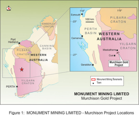 APPENDIX 1:   Figure 1 - Murchison Gold Project (CNW Group/Monument Mining Limited)