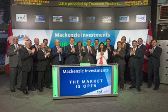 Michael Cooke, Senior Vice-President, Exchange Traded Funds, Mackenzie Investments, joined Dani Lipkin, Head, Business Development, Exchange Traded Funds, Closed-End Funds, and Structured Notes, TMX Group to open the market to launch its two new Exchange Traded Funds (ETFs): Mackenzie Maximum Diversification Canada Index ETF (MKC), and Mackenzie Maximum Diversification US Index ETF (MUS). Mackenzie Investments is a member of the IGM Financial Inc. group of companies. Mackenzie Investments currently has 6 ETFs listed on Toronto Stock Exchange. MKC; and MUS; commenced trading on Toronto Stock Exchange on June 21, 2016. (CNW Group/TMX Group Limited)