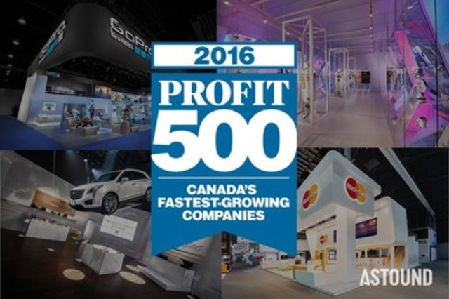 For the fourth consecutive year, ASTOUND Group, a world-leading design and fabrication agency, ranks 146 on the 2016 PROFIT 500, the PROFIT and Canadian Business 28th annual list of Canada's Fastest-Growing Companies (CNW Group/ASTOUND Group Inc.)