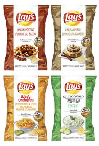 Les saveurs finalistes du concours Faites-nous une saveur de Lay's 2014. Afin de déterminer la saveur gagnante, les Canadiens sont invités à voter sur le site www.Lays.ca/Saveur avant le 15 octobre. (Groupe CNW/PepsiCo Canada)
