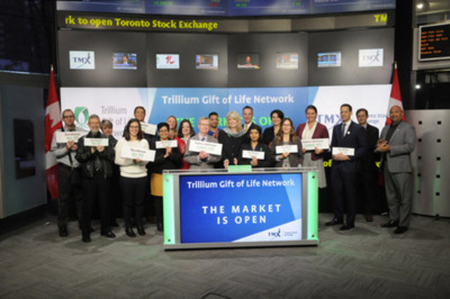 Ronnie Gavsie, President and CEO, Trillium Gift of Life Network joined Dani Lipkin, Business Development, Exchange Traded Funds, Closed-End Funds, and Structured Notes, TMX Group to open the market. Trillium Gift of Life Network is a not-for-profit agency of the Government of Ontario dedicated to the planning, promotion, coordination and support of organ and tissue donation and transplantation. Its mission is to save and enhance lives through the gift of organ and tissue donation in Ontario. www.giftoflife.on.ca/en/ (CNW Group/TMX Group Limited)
