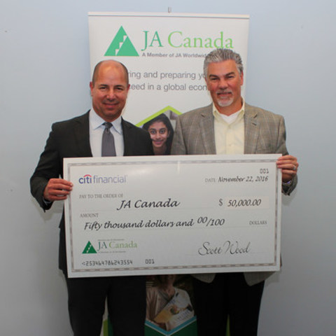 From left-right: Scott Wood, President and CEO, CitiFinancial and Scott Hillier, CEO and President, JA Canada ...