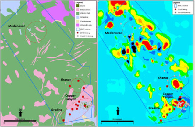 Figure 1: Maps showing (left) property scale geology, and (right) horizontal slice through the 3D magnetic model with positions of previous and current drillhole collars and locations of Shanac, Copper Canyon and Gradina zones. (CNW Group/Eldorado Gold Corporation)