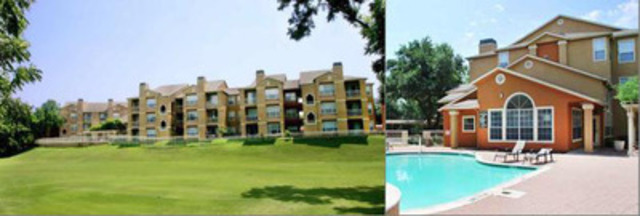 Laguna Luxury Apartments view overlooking golf course (left) and poolside (right) (CNW Group/Pure Multi-Family REIT LP)