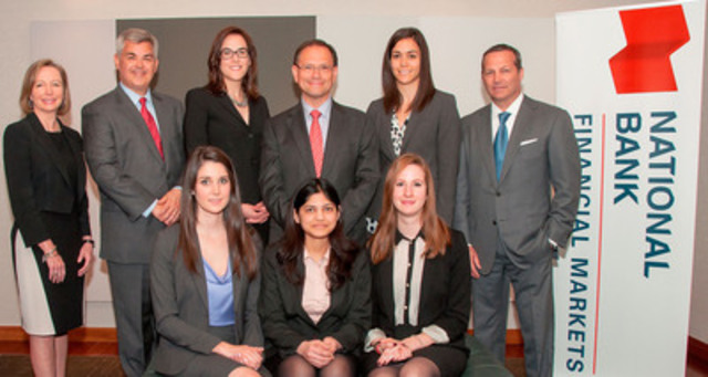 Bottom (from left to right): Lauren Reid, Shikha Jain and Maryse Duguay-Patenaude. Top row (from left to right): From National Bank Financial Markets, Susan Monteith, Brian Davis, Marjorie Nadeau, Ricardo Pascoe, Marjorie Skolnik and Sean St. John. (CNW Group/National Bank of Canada)