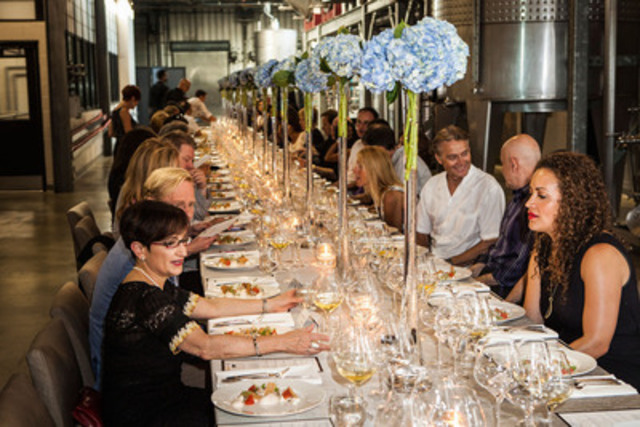 Exclusive Dinner in the Production Alley at Stratus Vineyard with Chef David Hawksworth, and Master Sommelier John Szabo (CNW Group/Wine Council of Ontario)