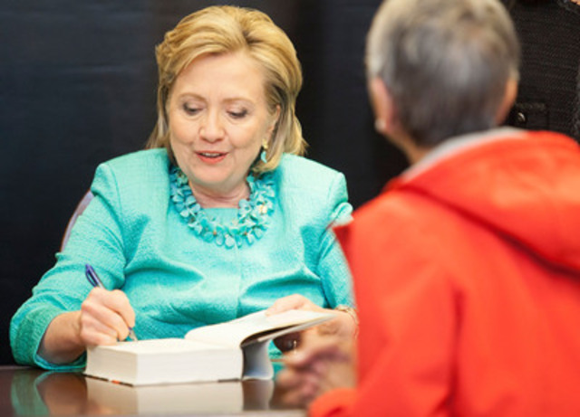 "Hillary Rodham Clinton does a meet and greet with fans, while signing her new book ""Hard Choices"", Monday, June16, 2014 at the Bay and Bloor location of Indigo in Toronto, Ontario, Canada. (Photo: Brett Gundlock) (CNW Group/Indigo Books & Music Inc.)"