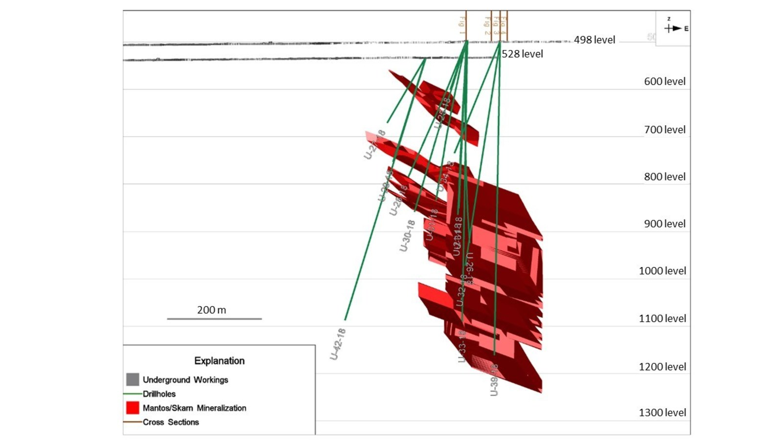 Figure 5: Mineralization interpretation and drill holes with section lines