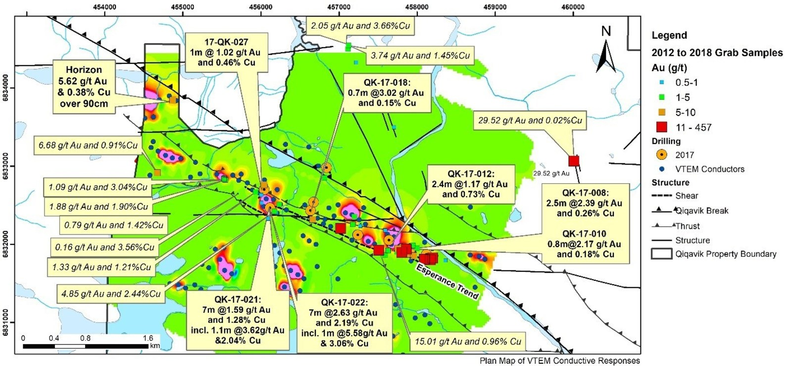 """Figure 3: Plan map of EM """"Lenses"""" at Esperance and Past Drilling"""