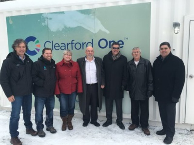 Clearford One(TM) commissioning ceremony at Fetherston Mobile Park, North Grenville Ontario. From left to right:  Peter Rupcic and Richard Nie, Koester Canada; Karen Dunlop, Direct Public Works and David Gordon, Mayor, North Grenville; Kevin Loiselle, Clearford Water Systems Inc., Maurice Dumoulin, Fetherston Mobile Park Association  and  Brian J. Carré, Chief Administrative Officer, North Grenville.  (CNW Group/Clearford Water Systems Inc.)