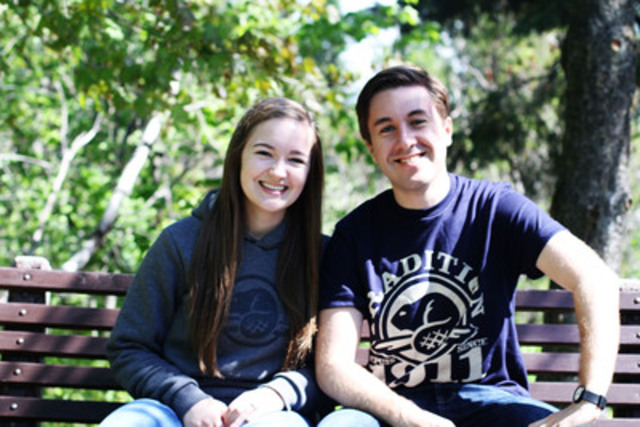 The honourable Peter Kent, Canada's Environment Minister and Minister responsible for Parks Canada, announces that Julia Belliveau (left) and Colin Sutherland (right) as the next Duke and Duchess of Cambridge Parks Canada Youth Ambassadors. (CNW Group/Parks Canada)