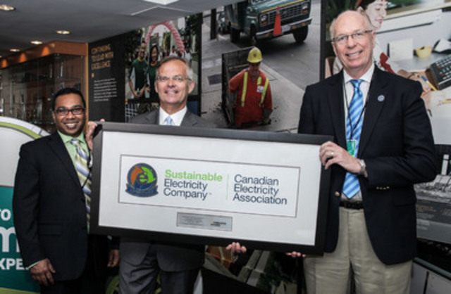 Jim R. Burpee, President and CEO of the Canadian Electricity Association (CEA) (right), along with Channa S. Perera, Director, Sustainable Development, CEA (left), presents Anthony Haines, President and CEO, Toronto Hydro with the Sustainable Electricity Company™ designation. Toronto Hydro is one of only three electricity companies in Canada to be recognized for its sustainability efforts by the CEA. (CNW Group/Toronto Hydro Corporation)