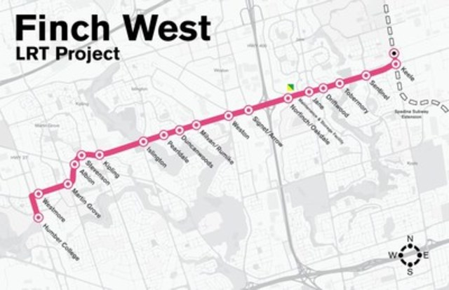 Finch West LRT to deliver 11km of new, dedicated rapid transit in Toronto. Construction to start in 2017. Map courtesy of Metrolinx. (CNW Group/Infrastructure Ontario)