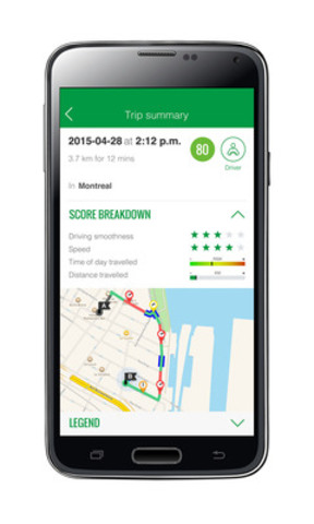 With the application, Desjardins Insurance's Ajusto program is accessible to more clients who will be able to improve their driving behaviour, thanks to near-instant feedback of their behind-the-wheel habits. (CNW Group/Desjardins Group)