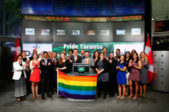 Aaron GlynWilliams, Co-Chair, Board of Directors, Pride Toronto, joined Sherri Brand, Managing Director, Strategic Initiatives, TMX CDS to open the market in celebration of the 35th annual Pride Festival. Pride Toronto celebrates the history, courage, diversity and future of Toronto's Pride community. This year's festival will run June 19 - 28, 2015 and will include a three-day street festival with over eight stages of live entertainment, a street fair and the Pride Parade. For more information please visit www.pridetoronto.com. (CNW Group/TMX Group Limited)