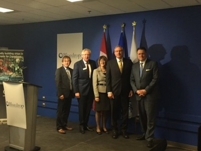 L to R:  Jean-Claude Siew, VP Training and Simulation, Bluedrop Training & Simulation; Derrick Rowe, Executive Chair, Bluedrop Training & Simulation; The Honourable Diana Whalen, Deputy Premier and MLA for Clayton Park West; Kevin McCoy, President, Irving Shipbuilding; His Worship Mike Savage, Mayor of Halifax (CNW Group/J.D. Irving, Limited)