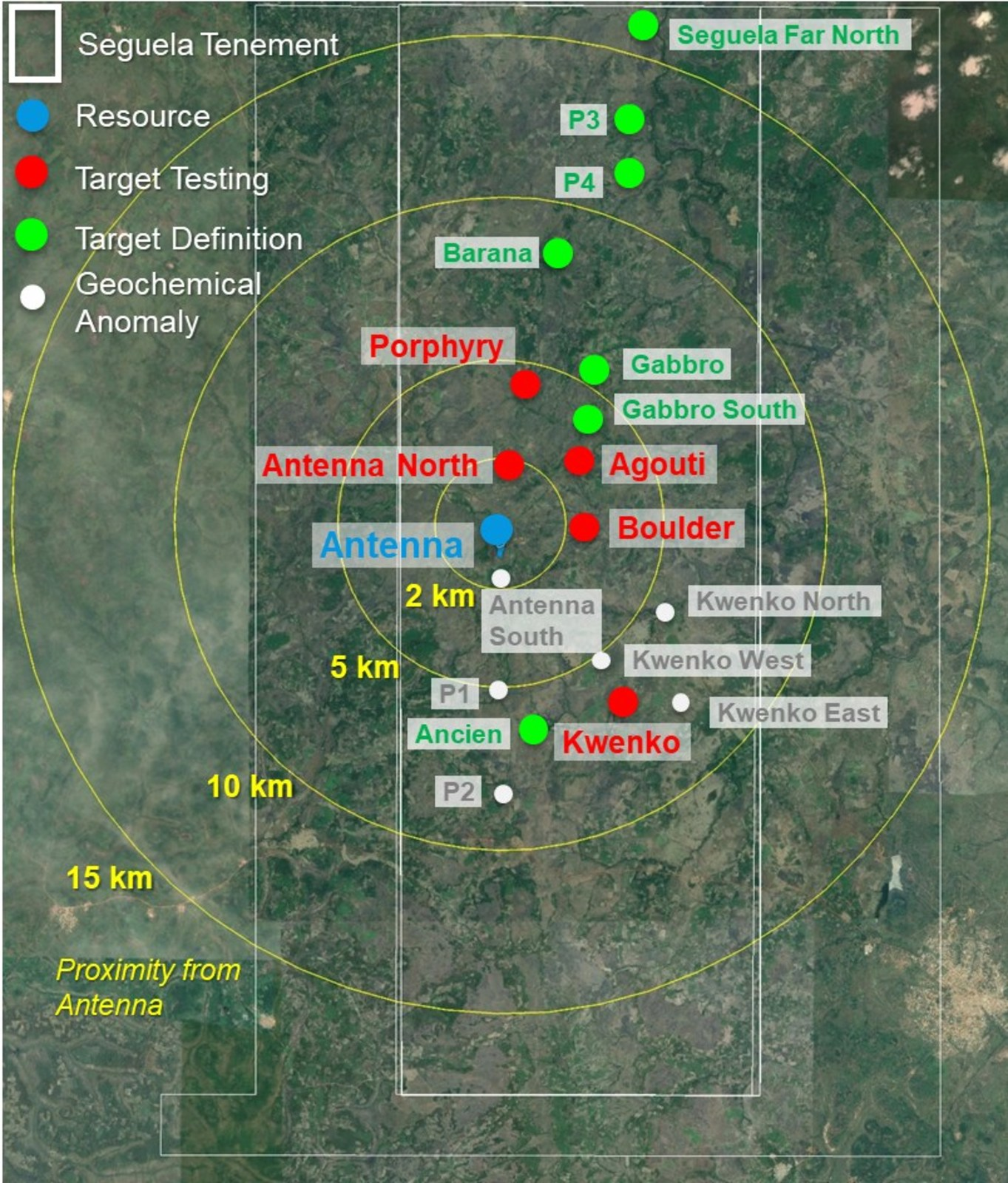 Figure 2: Séguéla Project exploration portfolio targets within 15km of the Antenna deposit