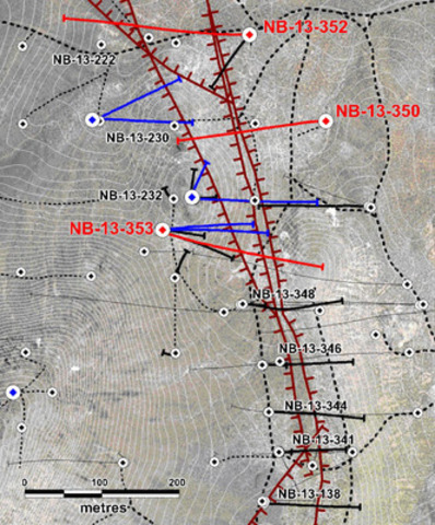 Figure 1: Location of Yellowjacket drill holes. Red collars and traces indicate holes reported in this press release. Blue indicates holes for which assays are pending. Black indicates previously released results. Significant mineralized faults are shown in dark red. (CNW Group/Corvus Gold Inc.)