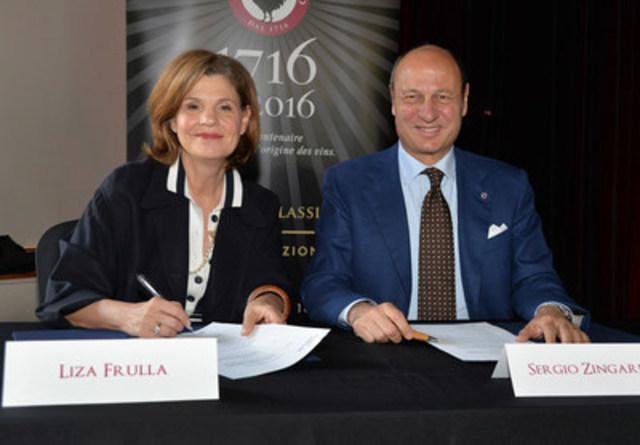 L'honorable Liza Frulla, C.P., directrice générale de l'ITHQ et Sergio Zingarelli, président du Consorzio Vino Chianti Classico (Groupe CNW/Institut de tourisme et d'hôtellerie du Québec)