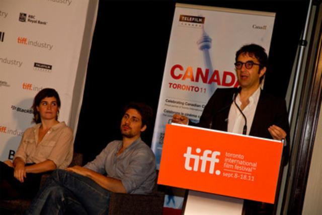 (De gauche à droite) les réalisateurs Anne Émond (Nuit #1), Ivan Grbovic (Roméo Onze) et Atom Egoyan (Groupe CNW/TELEFILM CANADA)