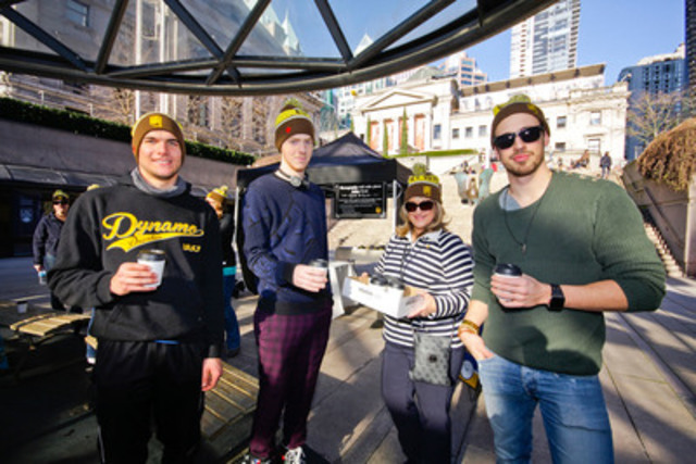 UPS Canada celebrated 40 years Saturday, February 28 at Robson Square in Vancouver. UPS Canada thanked its employees and the community with free skating and giveaways. UPSer Cindy Morrison handed out free admission and skate rental vouchers, hot chocolate, and 40th anniversary commemorative toques. (CNW Group/UPS Canada Ltd.)