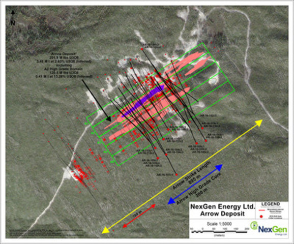 Figure 4: Arrow Deposit Drill Hole Locations (CNW Group/NexGen Energy Ltd.)