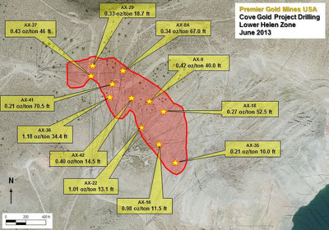 Image 1.0 - Current Lower Helen Zone mineralized footprint (CNW Group/Premier Gold Mines Limited)