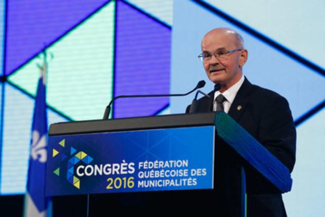 Richard Lehoux, président de la FQM, en allocution d'ouverture (Groupe CNW/Fédération québécoise des municipalités)