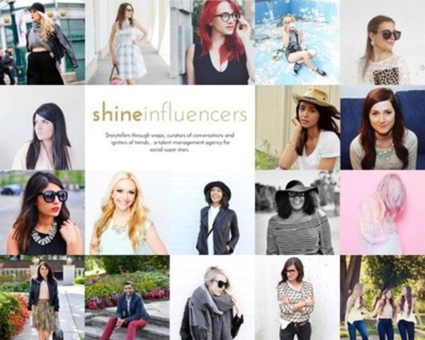 Storytellers through snaps, curators of conversations and igniters of trends - Shine launches a talent management agency for social superstars (CNW Group/Shine)