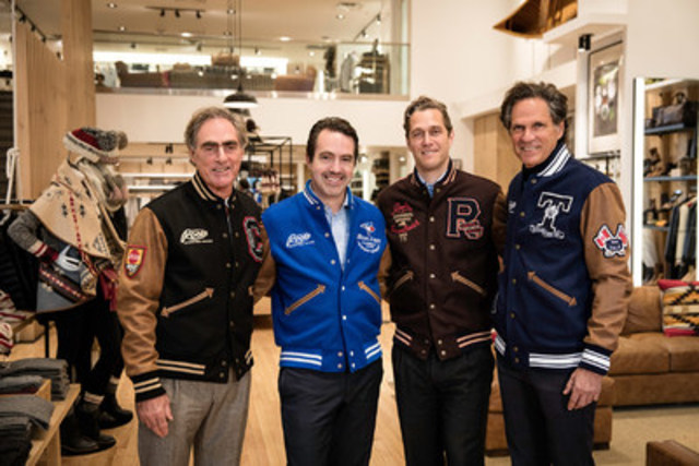 Roots co-founders with their new partners today at the brand's flagship store in Toronto, all wearing Roots jackets made at the company's factory in Toronto: (L to R) Roots Co-Founder Michael Budman; Searchlight Co-Founders Erol Uzumeri and Eric Zinterhofer; and Roots Co-Founder Don Green. Photograph by Ilich Mejia. (CNW Group/Roots Canada Ltd.)