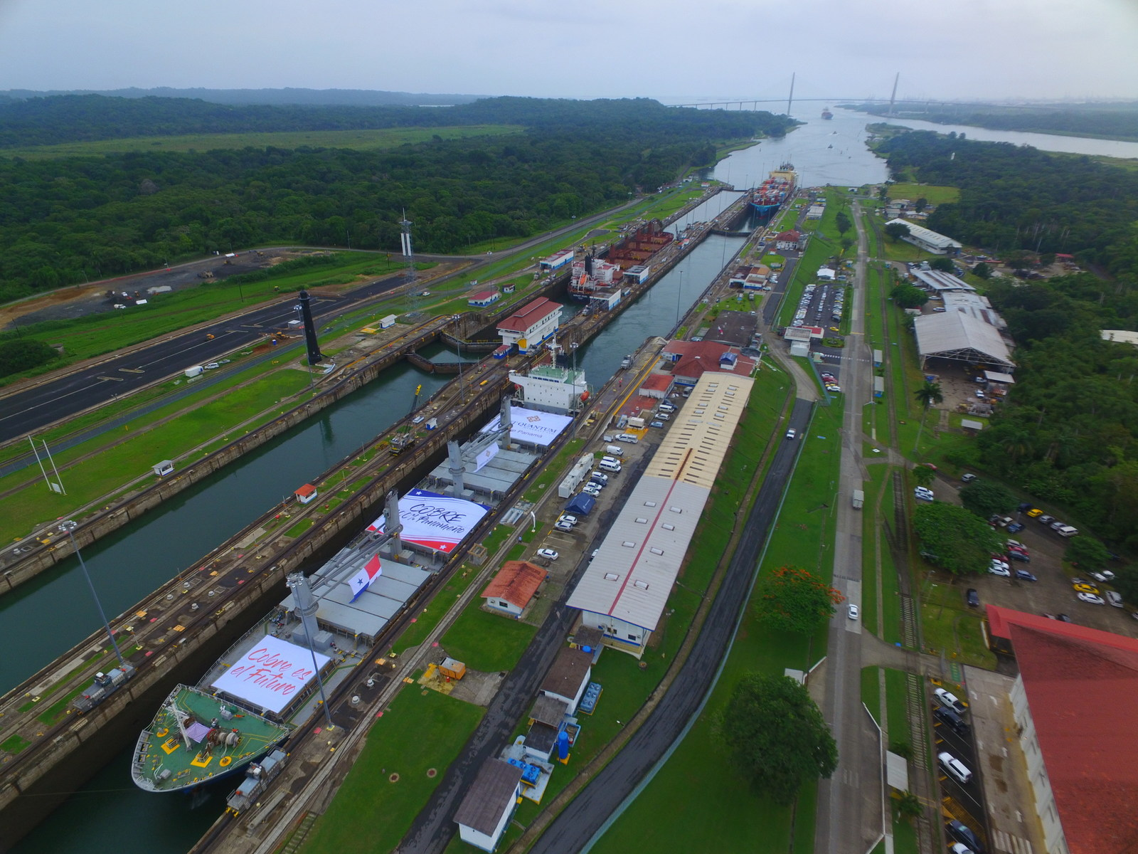 The Missy Enterprise going through the Panama Canal with the first copper concentrate shipment from First Quantum's Cobre Panama Mine.