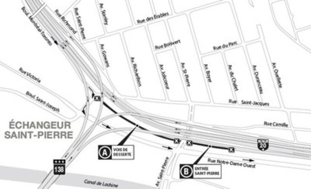 Projet Turcot à Montréal - Fermeture de longue durée de l'entrée de l'avenue Saint-Pierre menant à l'autoroute 20 en direction est (Groupe CNW/Ministère des Transports)