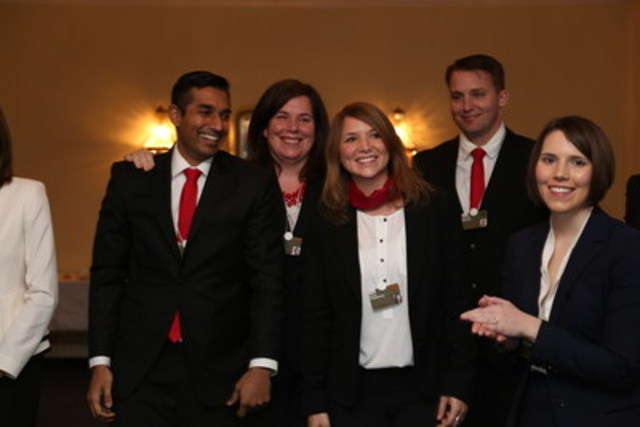 Members of Team UVic, celebrating their victory at the 2014/2015 Business for a Better World case competition in Davos, Switzerland. The challenge for teams was to substantially improve the sustainability performance of pharmaceutical giant Novartis. (CNW Group/Corporate Knights Inc.)