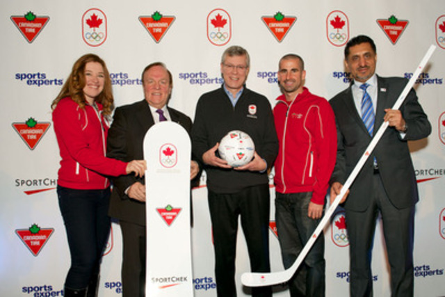 Canadian Tire announces eight year partnership with Canada's Olympic Committee. Pictured from left to right: Clara Hughes, Olympian, Marcel Aubut, President, Canadian Olympic Committee, Stephen Wetmore, President and CEO, Canadian Tire Ltd., Benoit Huot, Paralympian, The Honourable Bal Gosal, Minister of State (Sport). (CNW Group/CANADIAN TIRE CORPORATION, LIMITED)
