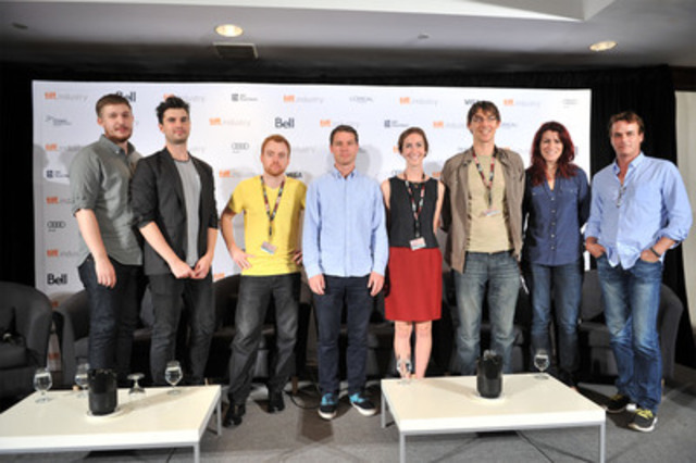 (L-R) directors Kyle Humphrey and Graydon Sheppard (Shit Girls Say); Evan Morgan (A Pretty Funny Story); Nik Sexton (How To Be Deadly); Sophie Jarvis (Worst Day Ever); Jonathan Williams (CanoeJacked); moderator Magali Simard, TIFF; and Paul Gross (CNW Group/TELEFILM CANADA)