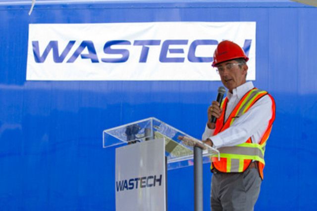 CACHE CREEK--June 15, 2015--Belkorp Chairman & CEO Stuart Belkin addresses employees, parters, and community members at Wastech's new landfill gas capture facility in Cache Creek B.C. on June 15, 2015.  The plant converts methane gas into enough renewable electricity to power over 2500 homes. The gas utilization plant at the Cache Creek Landfill builds on the 30 years of experience that Wastech and its parent company Belkorp Environmental Services Inc. have in providing British Columbia with recycling and waste management solutions.  Photo by Jeff Bassett (CNW Group/WASTECH SERVICES LTD.)