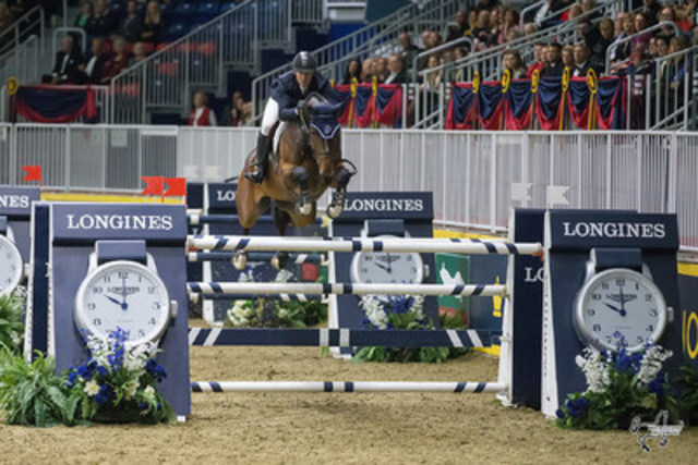 McLain Ward of the United States and HH Azur topped the $130,270 Longines FEI World Cup™ Jumping Toronto at the CSI4*-W Royal Horse Show on Wednesday, November 9, in Toronto, ON. (Photo by Ben Radvanyi Photography) (CNW Group/Royal Agricultural Winter Fair)