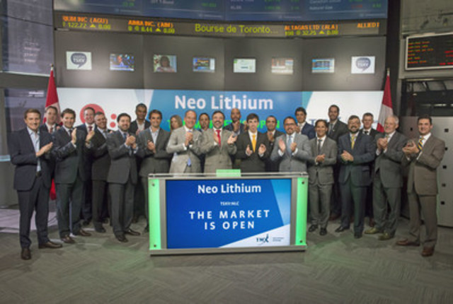 Pat Di Capo, CEO, PowerOne Capital Markets Limited, Waldo Perez, President & CEO, and Constantine Karayannopoulos, Chairman, Neo Lithium Corp. (NLC), joined Eric Loree, Team Manager, Listed Issuer Services, TSX Venture Exchange to open the market. Neo Lithium holds mineral and surface rights over a lithium salar and brine reservoir complex in Catamarca Province, Argentina. Neo Lithium Corp. commenced trading on TSX Venture Exchange on July 20, 2016. For more information, please visit www.neolithium.ca. (CNW Group/TMX Group Limited)