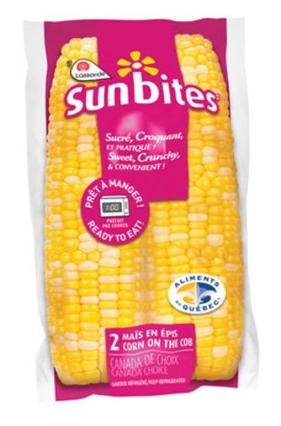 Sunbites: Maïs en épi précuit, emballé sous vide et prêt en 1 minute. (Groupe CNW/Terrain) (Groupe CNW/Spécialités Lassonde inc.)