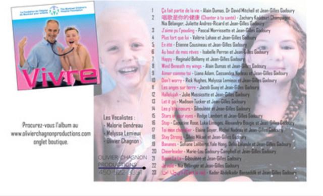 Lancement d'album de Jean-Gilles Gadoury, 10 ans (Groupe CNW/La Fondation de l'Hôpital de Montréal pour enfants)