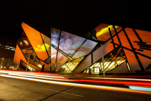 The ROM's Michael Lee-Chin Crystal transformed into Mount Vesuvius © Scott Ramsay (CNW Group/Royal Ontario Museum)