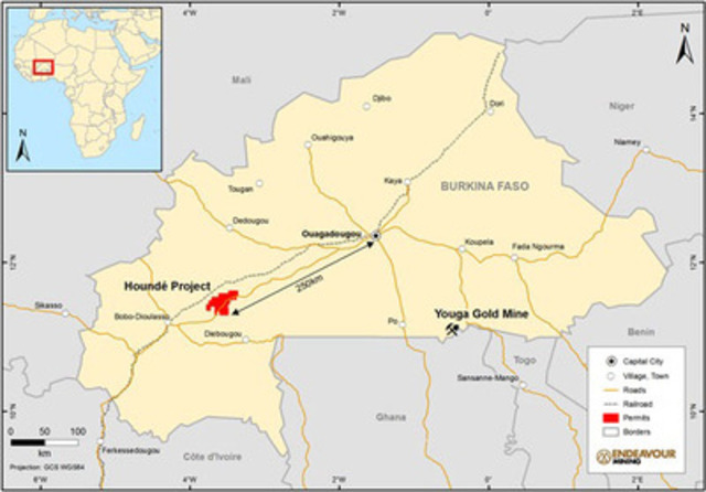 Figure 1:Houndé Project Location Map, including Endeavour's Youga Gold Mine (CNW Group/Endeavour Mining Corporation)