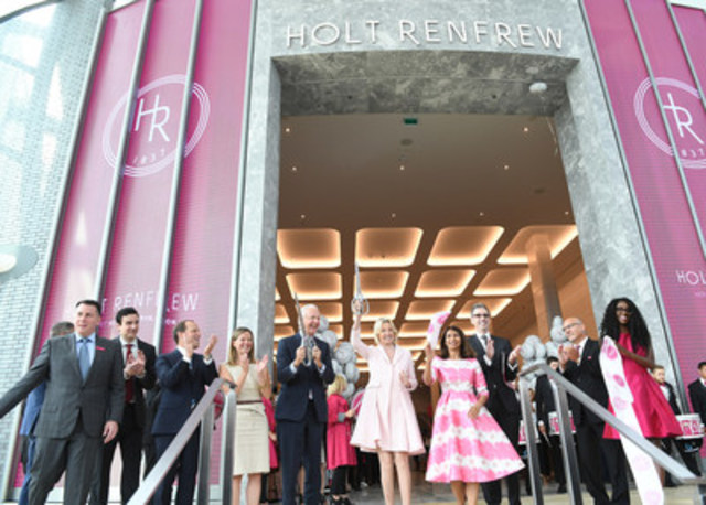 Holt Renfrew Square One Opening Day Ribbon Cutting. GM, DVP, Marcus Wyss, Councillor John Kovac, Bradley J. Jones, SVP, Retail, Canada, Oxford Properties Group, Councillor and Acting Mayor, Chris Fonseca,  W. Galen Weston, the Hon. Hilary M. Weston, Provincial Minister Responsible for Seniors Affairs/MPP Mississauga-East Cooksville, Dipika Damerla, Mark Derbyshire, President, Holt Renfrew, Tim Smith, SVP, Store Experience, Holt Renfrew. (CNW Group/Holt Renfrew)
