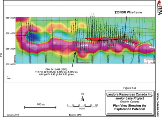 FIGURE 1 PLAN VIEW OF THE EXPLORATION POTENTIAL (1ST DERIVATIVE MAGNETIC SIGNATURE) (CNW Group/Landore Resources Limited)