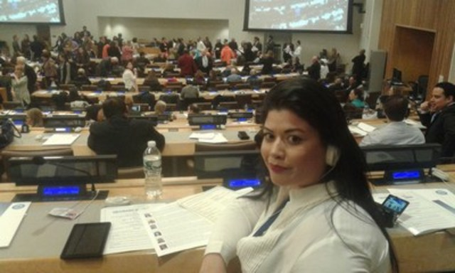 Green Party Congressional Candidate Vanessa Tijerina (TX-15) at United Nations session on social affairs - February 2016 (CNW Group/Politician Watch Association)