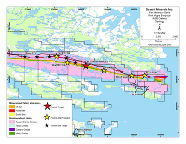 Fox Harbour Zone Port Hope Simpson REE District Geology (CNW Group/Search Minerals Inc.)