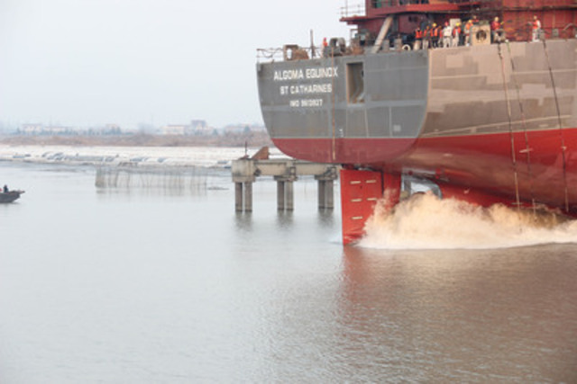 Algoma Equinox being launched on December 24, 2012 (CNW Group/Algoma Central Corporation)